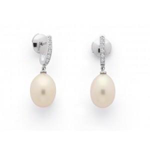 Créoles Perles de culture poire 10,5-11 mm et Diamants 0,10 Carat G VS Or Blanc