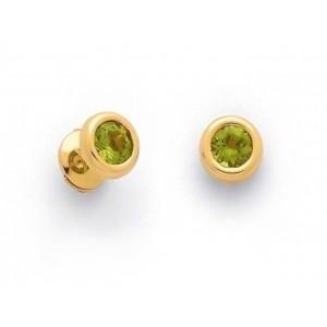 Boucles d'oreilles Péridots serti clos Or jaune