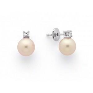 Boucles d'oreilles Perles de culture Akoya Japon ronde 6,5-7 mm et Diamants