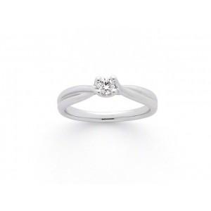 Solitaire Diamant 0,15 Carat H SI 4 griffes croisées Platine