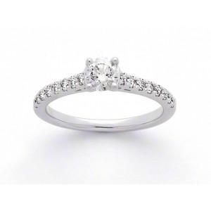 Solitaire Diamant 0,41 Carat E SI1 4 griffes accompagné 0,27 Carat Platine
