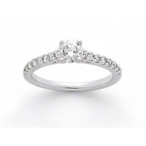 Solitaire Diamant 0,30 Carat G SI1 4 griffes accompagné 0,27 Carat Platine