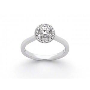 Solitaire Diamant 0,40 Carat F SI1 4 griffes accompagné 0,15 Carat Platine