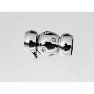 Fermoir collier de Perles boules Or Blanc et 8 Diamants