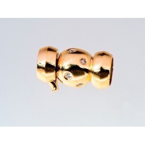 Fermoir collier de Perles boules OR Jaune et 8 Diamants