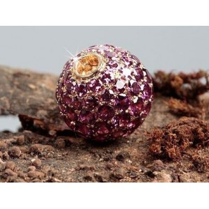 Fermoir interchangeable Rhodolites boule 12mm