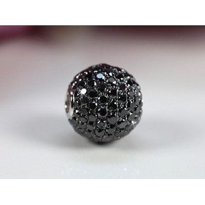Fermoir interchangeable Diamants Noirs boule 12mm