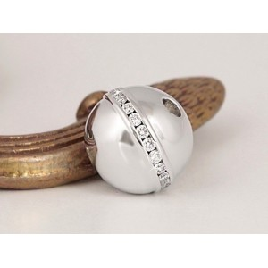 Fermoir interchangeable Diamants serti rail boule 12mm