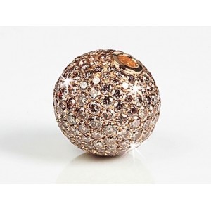 Fermoir interchangeable Diamants bruns boule 14mm