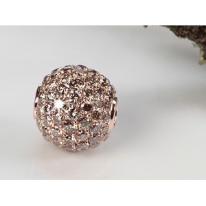Fermoir interchangeable Diamants bruns boule 10mm
