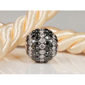 Fermoir interchangeable Diamants Noirs & Blancs boule 12mm