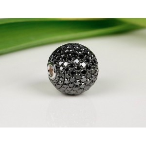 Fermoir interchangeable Diamants Noirs boule 14mm