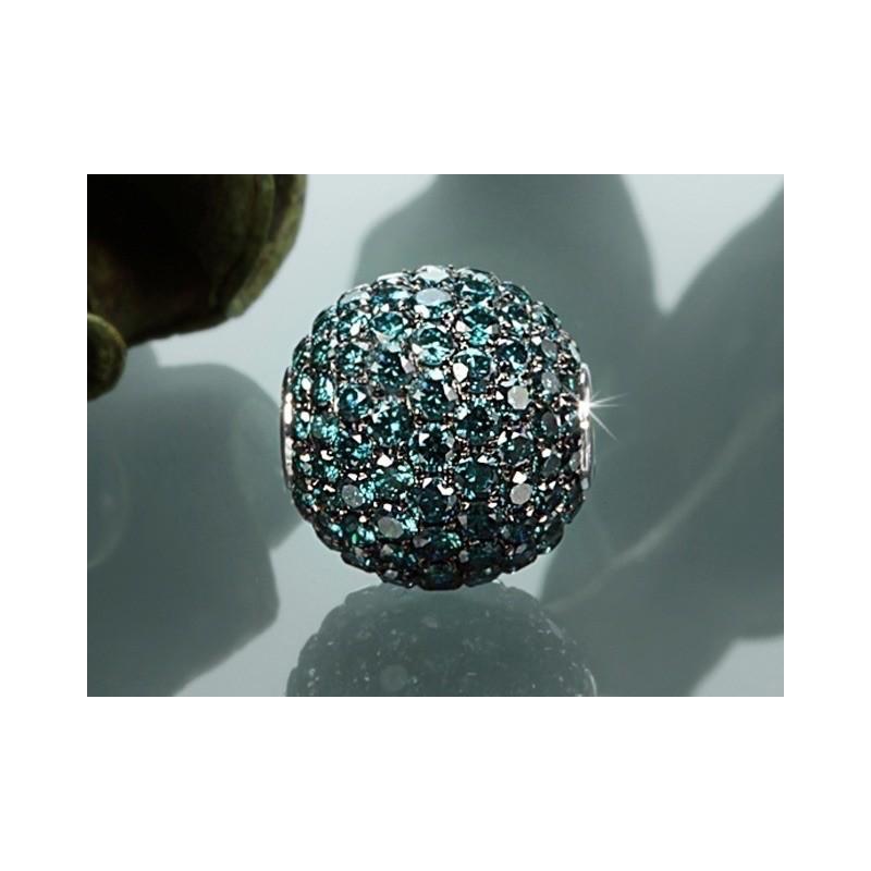 Fermoir interchangeable Diamants bleus traités boule 12mm