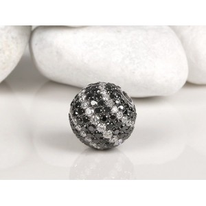 Fermoir interchangeable Diamants Noirs & Blancs boule 14mm