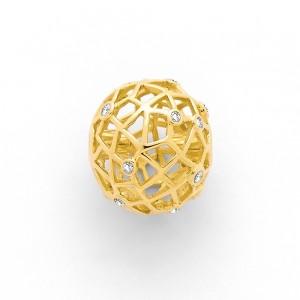 Fermoir interchangeable Diamants parsemés boule ajourée 16mm