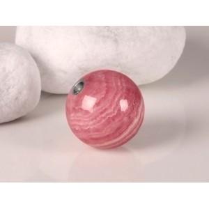 Fermoir interchangeable Rhodochrosite boule poli brillant 15mm Or blanc