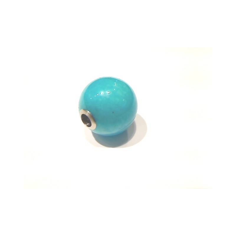 Fermoir interchangeable Amazonite boule poli brillant 12mm Acier