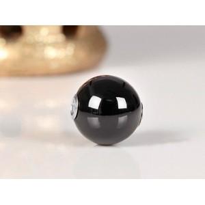 Fermoir interchangeable Onyx boule poli brillant 12mm Acier