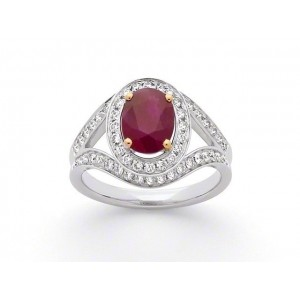 Bague Rubis 2,04 Carats entourage Diamants 0,57 Carat G SI Or blanc