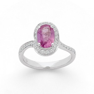 Bague Saphir rose 1,54 Carats et entourage Diamants 0,32 Carat G SI Or blanc