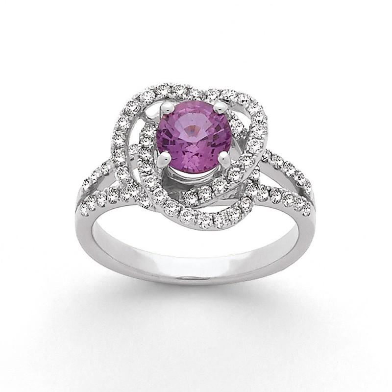 Carat Rose 21 0 Carats G Bague Si Or Et Loops 1 Triples Blanc Diamants 67 Saphir dorCxBe
