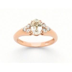 Bague Saphir jaune 1,39 Carats et Diamants 0,19 Carat G VS Or rose
