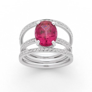 Bague Spinel rose 3,72 Carats et Diamants 0,40 Carat G VS Or blanc