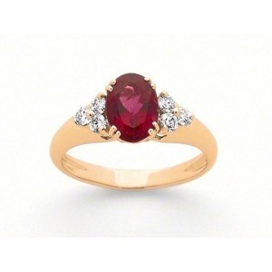 Bague Rubellite 1,03 Carats et Diamants 0,22 Carat G VS Or Rose