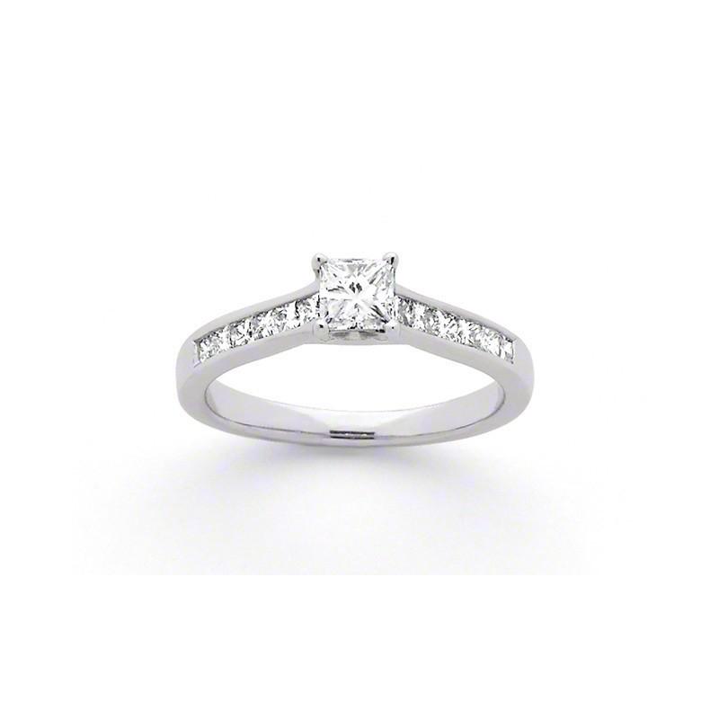 Solitaire Diamant taille princesse 0,40 carat G VS 4 griffes accompagné or blanc