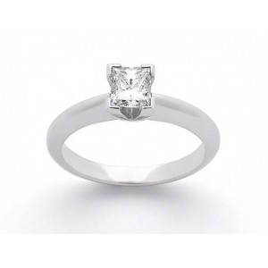Solitaire Diamant taille princesse 0,25 Carat E SI1 Or blanc