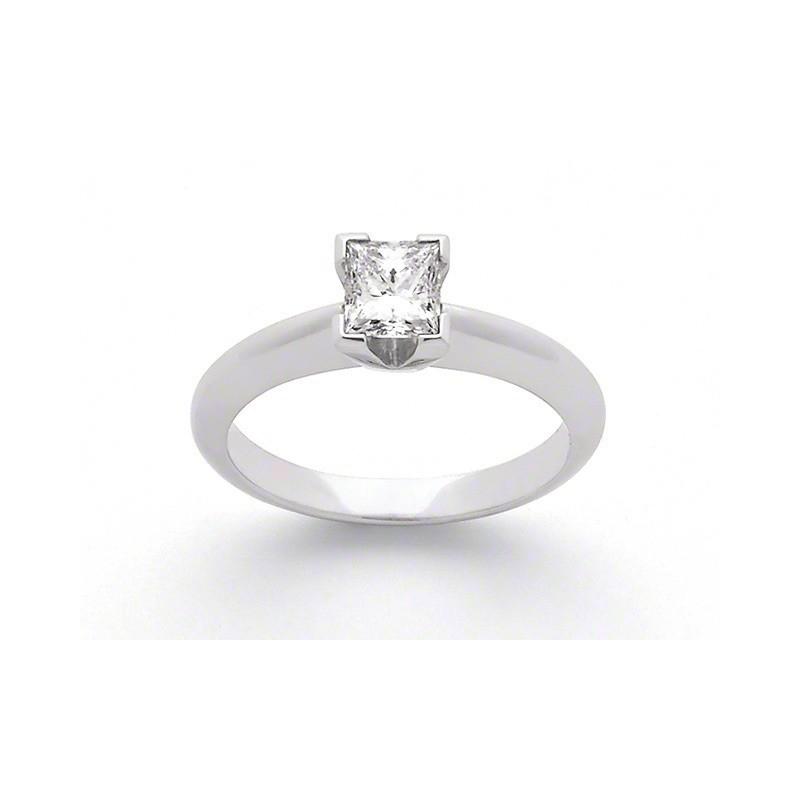 Solitaire Diamant taille princesse 0,25 Carat E SI1 Or blanc