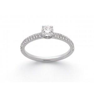 Solitaire Diamant 0,40 Carat G SI1 4 griffes accompagné 0,19 Carat Or blanc