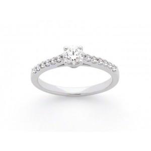 Solitaire Diamant 0,31 Carat D SI1 4 griffes accompagné 0,17 Carat Or blanc