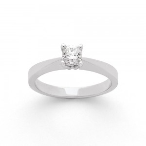 Solitaire Diamant taille Lucére© 0,46 Carat H SI2 4 griffes Or blanc