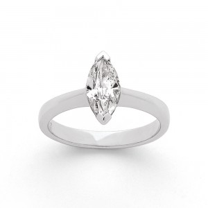 Solitaire Diamant 1,01 Carats F SI2 taille marquise Or blanc