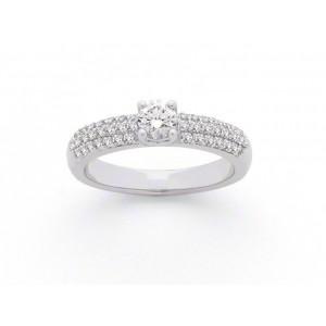 Solitaire Diamant 0,35 Carat E SI2 4 griffes accompagné 0,31 Carat Or blanc
