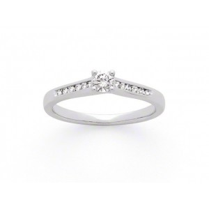 Solitaire Diamant 0,15 Carat G SI2 accompagné 0,14 Carat Or blanc