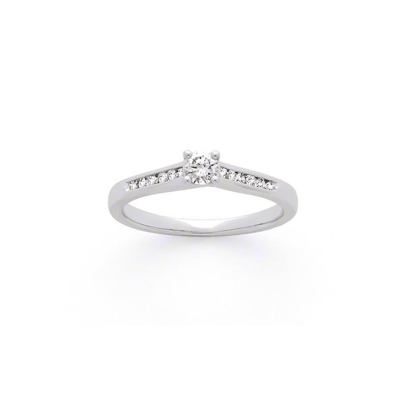 Solitaire Diamant 0,15 Carat G SI2 accompagné 0,14 Carat Or blanc
