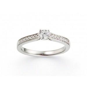 Solitaire Diamant 0,17 Carat G SI1 4 griffes accompagné 0,13 Carat Or blanc
