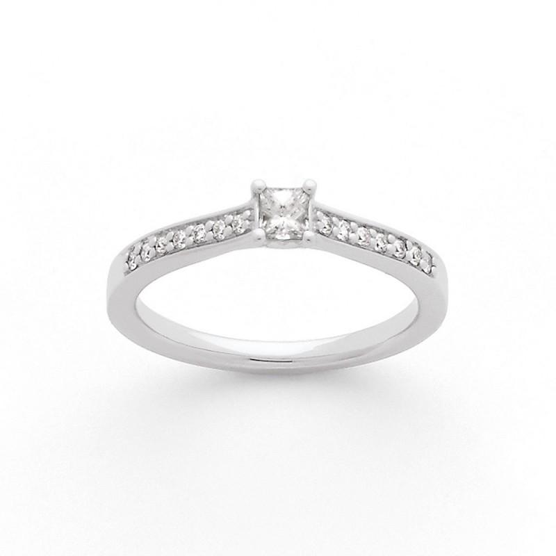 Solitaire Diamant taille princesse 0,14 Carat G SI1 4 griffes accompagné 0,10 Ct