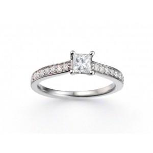 Solitaire Diamant taille princesse 0,26 Carat G SI1 4 griffes accompagné 0,13 Ct