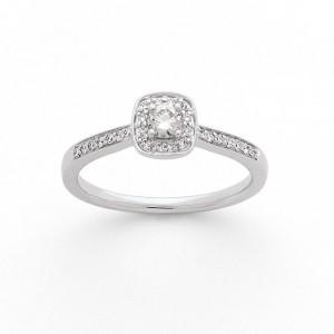 Solitaire Diamant 0,15 Carat G SI1 4 griffes accompagné 0,10 Carat Or blanc
