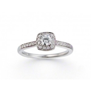 Solitaire Diamant 0,26 Carat G SI1 4 griffes accompagné 0,156 Carat Or blanc
