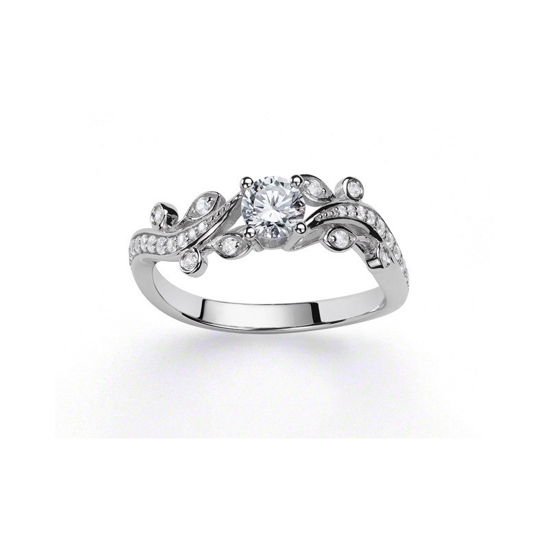 Solitaire Diamant 0,40 Carat G SI1 4 griffes accompagné 0,20 Carat Or blanc