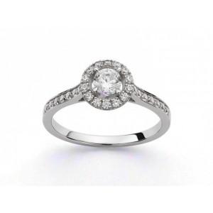 Solitaire Diamant 0,30 Carat G SI1 4 griffes entourage 0,28 Carat Or blanc