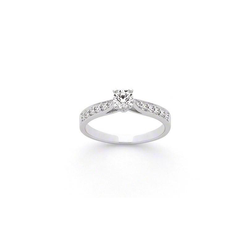 Solitaire Diamant 0,30 Carat H SI1 4 griffes accompagné 0,19 Carat Or blanc