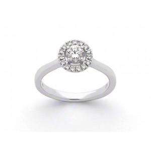 Solitaire Diamant 0,30 Carat G SI2 4 griffes entourage 0,13 Carat Or blanc