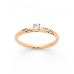 Solitaire Diamant 0,10 Carat G SI 4 griffes accompagné 0,05 Carat duo Or rose