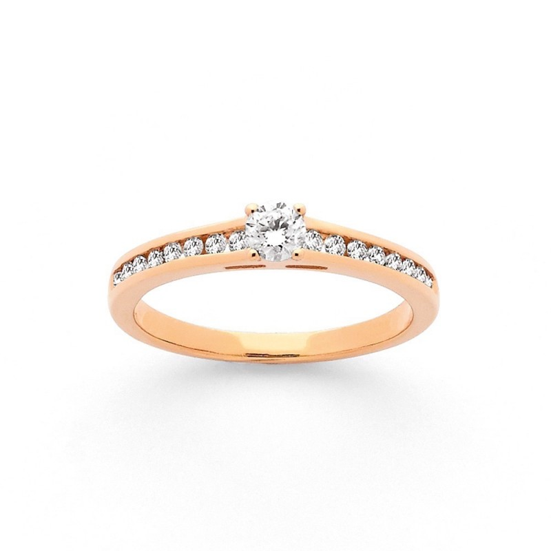 Solitaire Diamant 0,20 Carat G SI 4 griffes accompagné 0,20 Carat duo Or rose
