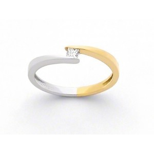"Solitaire Diamant 0,08 Carat G SI ""Twin"" Or jaune et Or blanc"